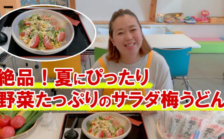 紀州南高梅を練りこんだ野菜たっぷりサラダ梅うどんを作ってみた